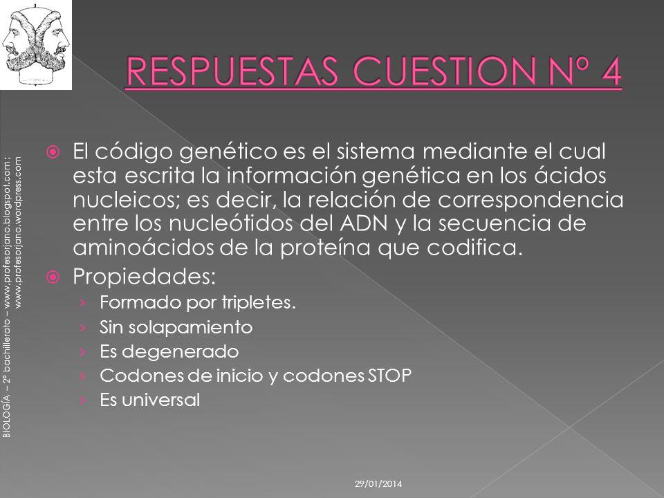 BIOLOGÍA – 2º bachillerato – www,profesorjano.blogspot.com ; www.profesorjano.wordpress.com 29/01/2014 El código genético es el sistema mediante el cu