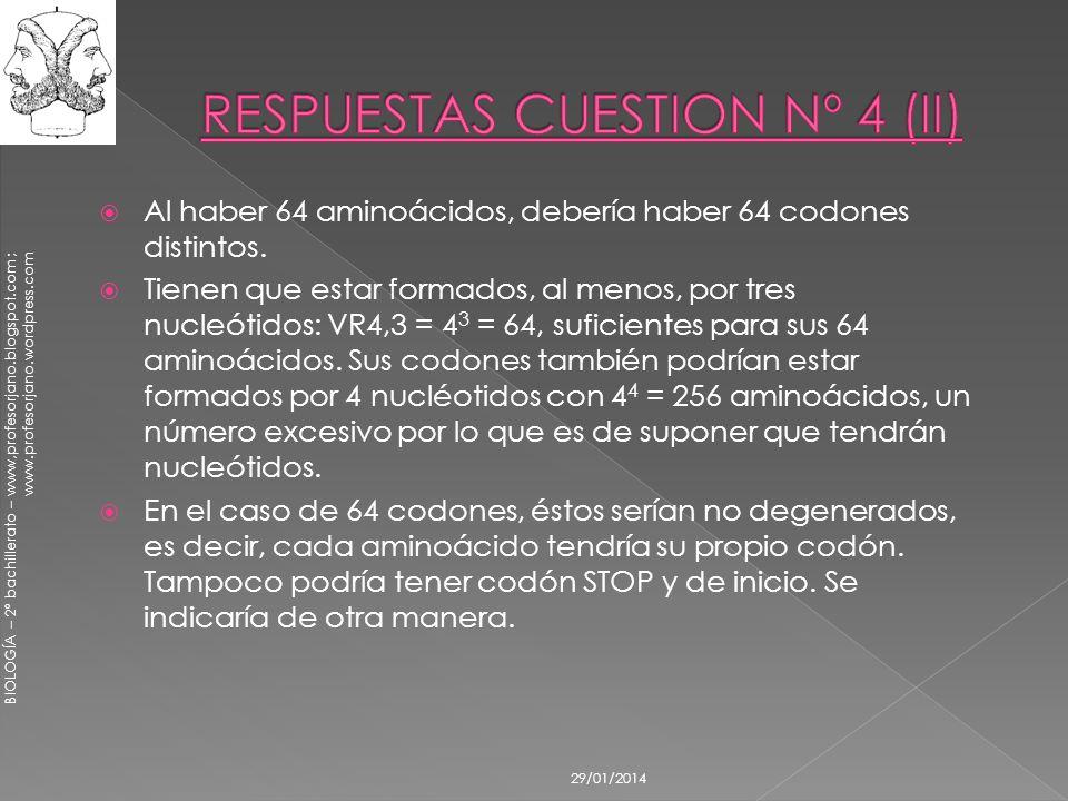 BIOLOGÍA – 2º bachillerato – www,profesorjano.blogspot.com ; www.profesorjano.wordpress.com 29/01/2014 Al haber 64 aminoácidos, debería haber 64 codon