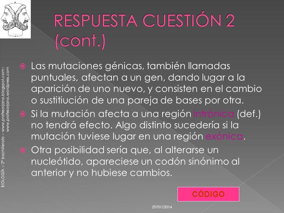 BIOLOGÍA – 2º bachillerato – www,profesorjano.blogspot.com ; www.profesorjano.wordpress.com 29/01/2014 Las mutaciones génicas, también llamadas puntua