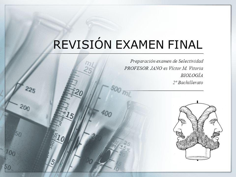 1 REVISIÓN EXAMEN FINAL Preparación examen de Selectividad PROFESOR JANO es Víctor M. Vitoria BIOLOGÍA 2º Bachillerato