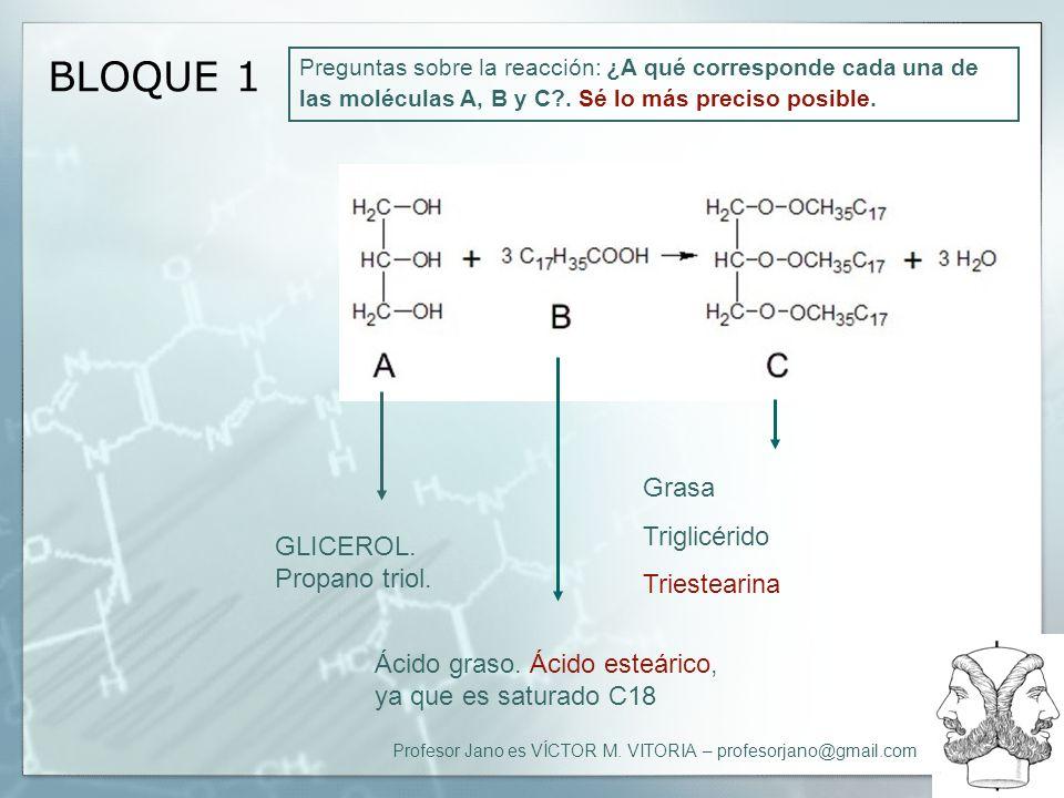 Profesor Jano es VÍCTOR M. VITORIA – profesorjano@gmail.com BLOQUE 1 Preguntas sobre la reacción: ¿A qué corresponde cada una de las moléculas A, B y