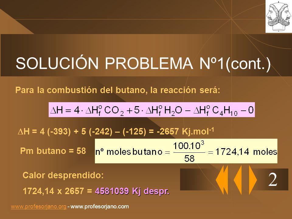 www.profesorjano.orgwww.profesorjano.org - www.profesorjano.com SOLUCIÓN PROBLEMA Nº1(cont.) 2 Para la combustión del butano, la reacción será: H = 4