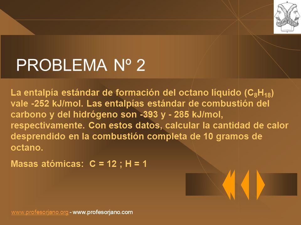 www.profesorjano.orgwww.profesorjano.org - www.profesorjano.com PROBLEMA Nº 2 La entalpía estándar de formación del octano líquido (C 8 H 18 ) vale -2