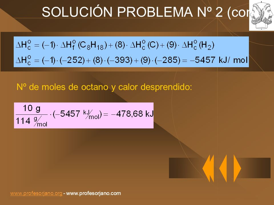 www.profesorjano.orgwww.profesorjano.org - www.profesorjano.com SOLUCIÓN PROBLEMA Nº 2 (cont. ) Nº de moles de octano y calor desprendido: