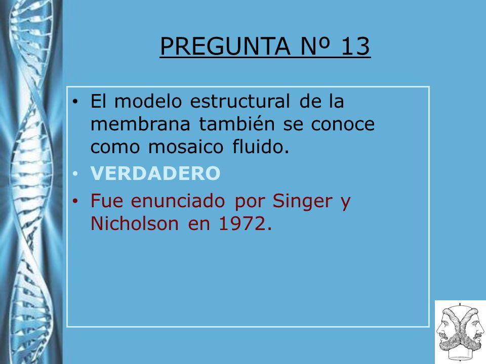 PREGUNTA Nº 13 El modelo estructural de la membrana también se conoce como mosaico fluido. VERDADERO Fue enunciado por Singer y Nicholson en 1972.