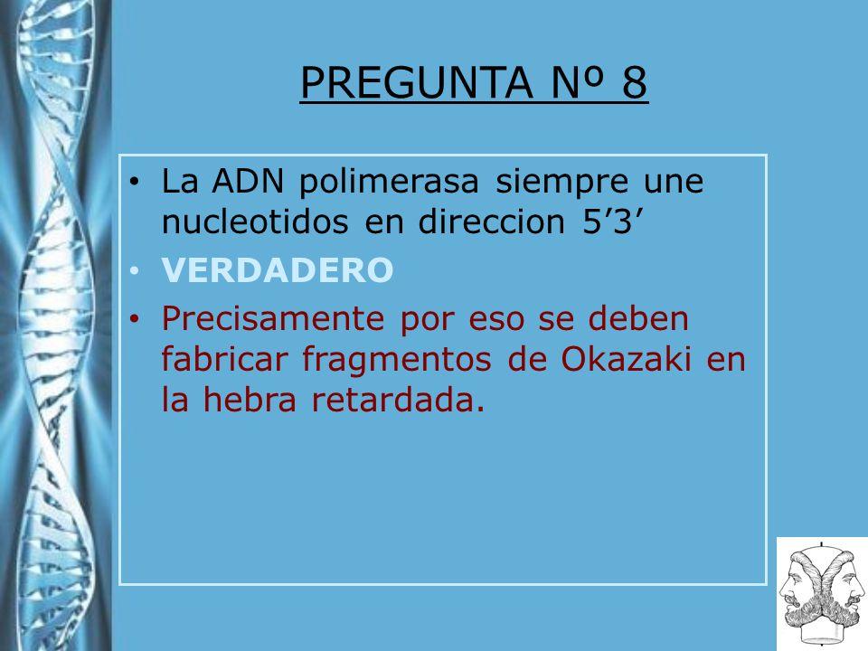 PREGUNTA Nº 8 La ADN polimerasa siempre une nucleotidos en direccion 53 VERDADERO Precisamente por eso se deben fabricar fragmentos de Okazaki en la hebra retardada.