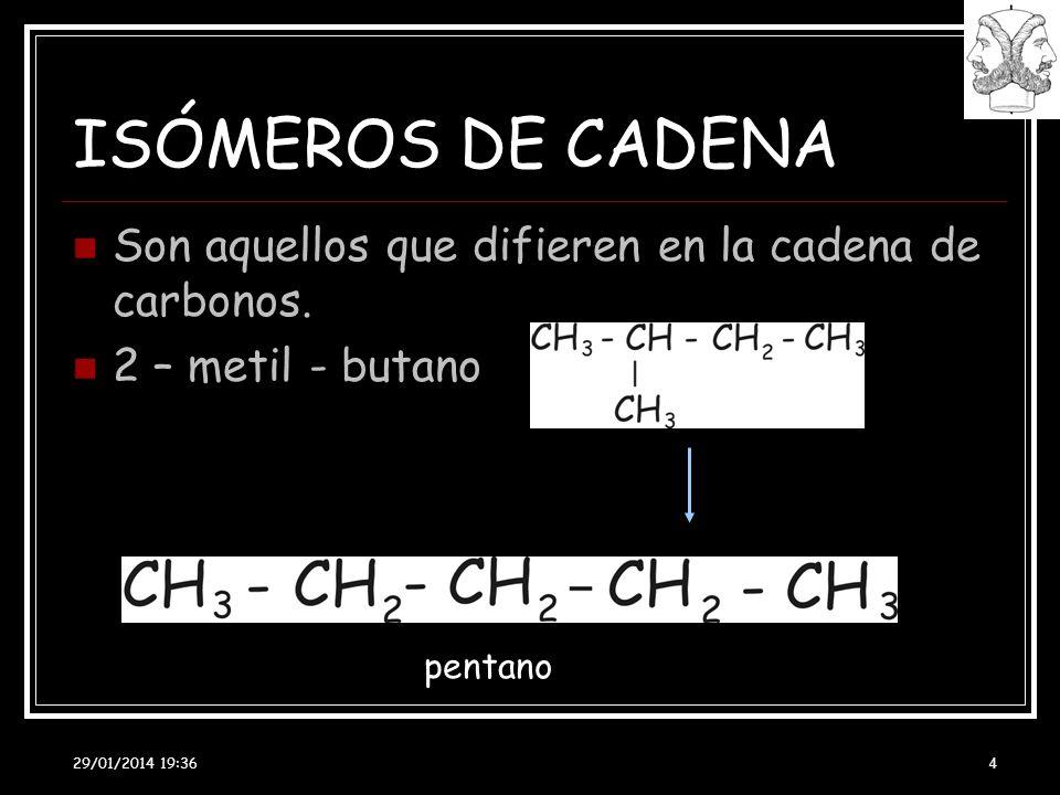 29/01/2014 19:38 4 ISÓMEROS DE CADENA Son aquellos que difieren en la cadena de carbonos. 2 – metil - butano pentano