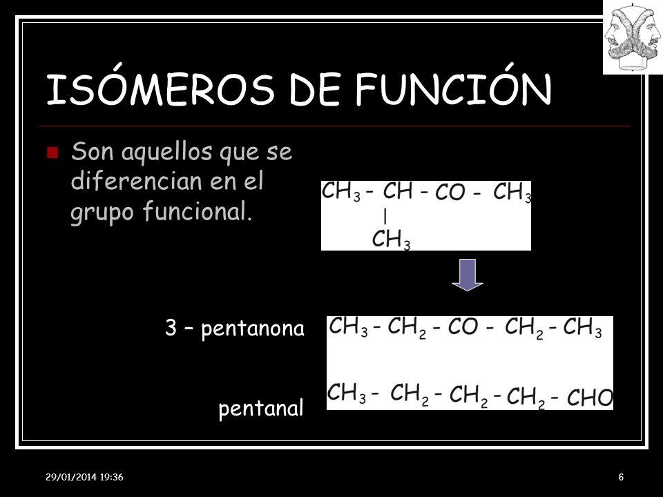 29/01/2014 19:38 6 ISÓMEROS DE FUNCIÓN Son aquellos que se diferencian en el grupo funcional. 3 – pentanona pentanal