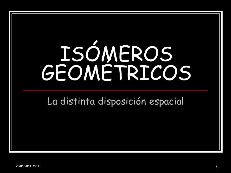29/01/2014 19:38 8 ISOMERÍA GEOMÉTRICA También CIS-TRANS Causa: RIGIDEZ DEL DOBLE ENLACE CIS TRANS