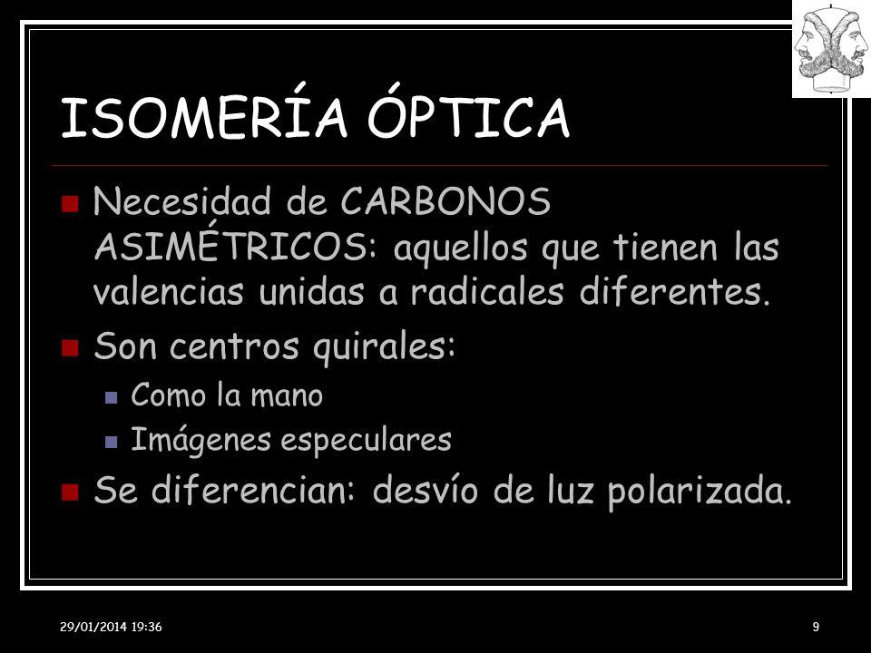 29/01/2014 19:38 9 ISOMERÍA ÓPTICA Necesidad de CARBONOS ASIMÉTRICOS: aquellos que tienen las valencias unidas a radicales diferentes. Son centros qui
