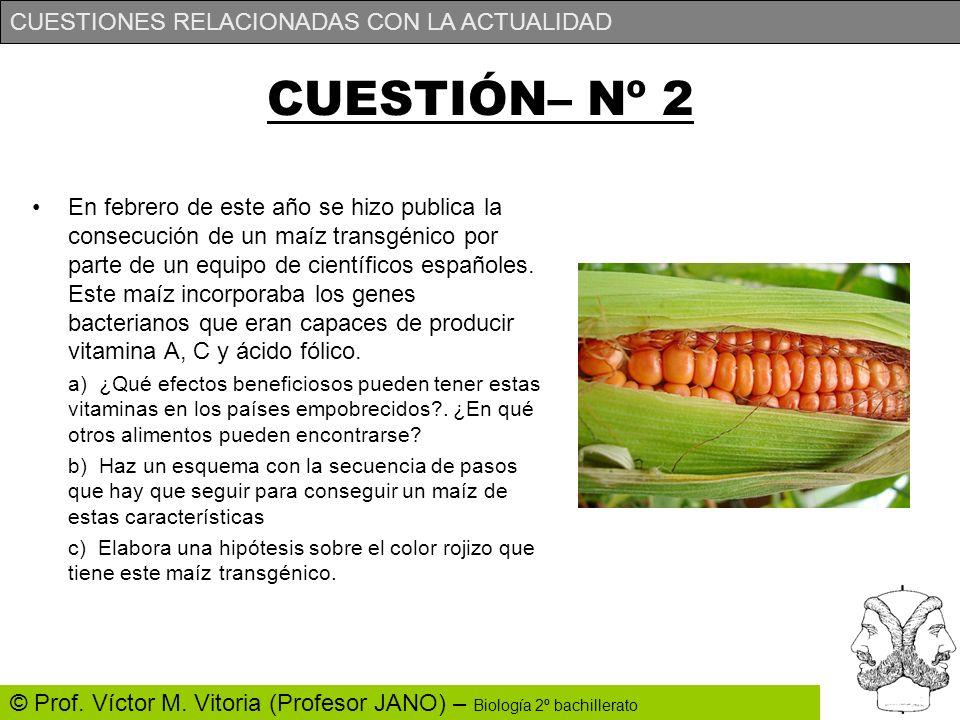 CUESTIONES RELACIONADAS CON LA ACTUALIDAD © Prof. Víctor M. Vitoria (Profesor JANO) – Biología 2º bachillerato CUESTIÓN– Nº 2 En febrero de este año s