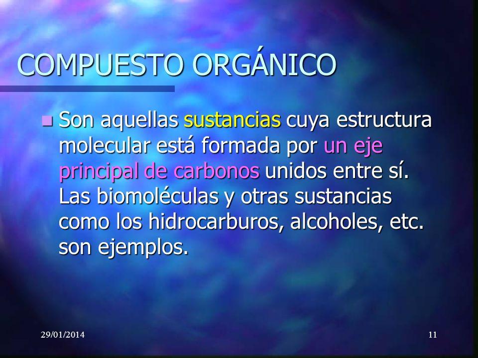 29/01/201411 COMPUESTO ORGÁNICO Son aquellas sustancias cuya estructura molecular está formada por un eje principal de carbonos unidos entre sí.