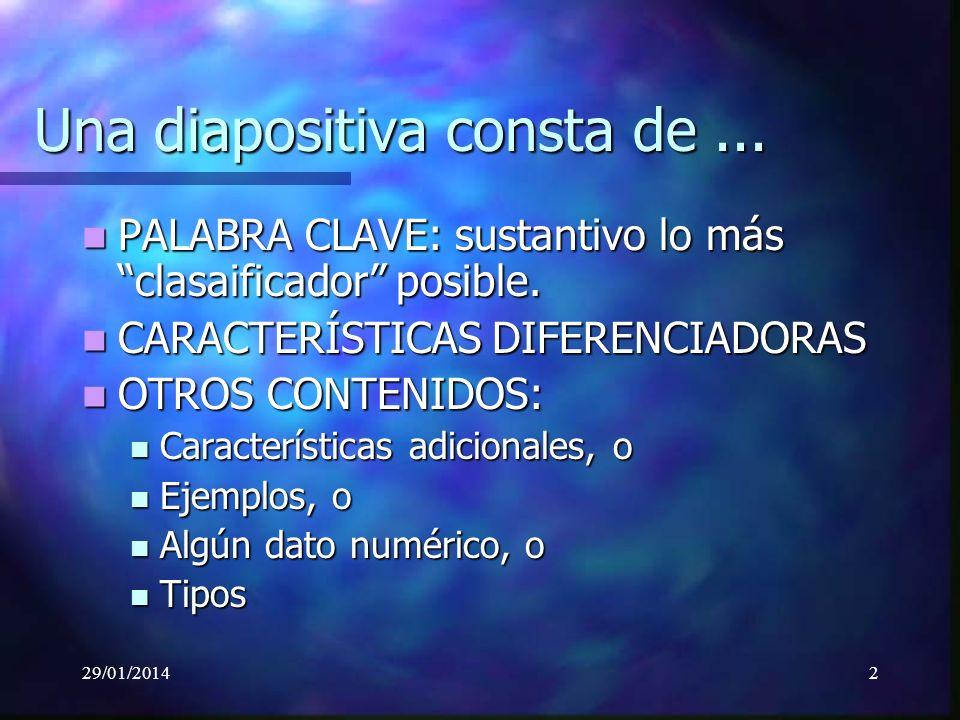 29/01/20142 Una diapositiva consta de... PALABRA CLAVE: sustantivo lo más clasaificador posible.