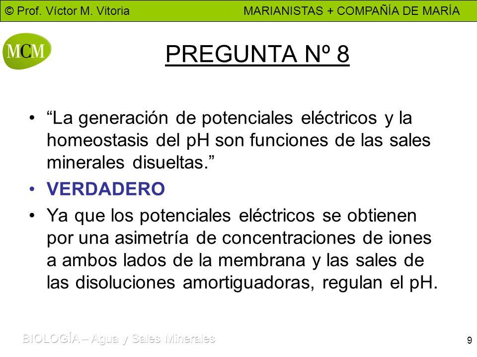 © Prof. Víctor M. Vitoria MARIANISTAS + COMPAÑÍA DE MARÍA 9 PREGUNTA Nº 8 La generación de potenciales eléctricos y la homeostasis del pH son funcione