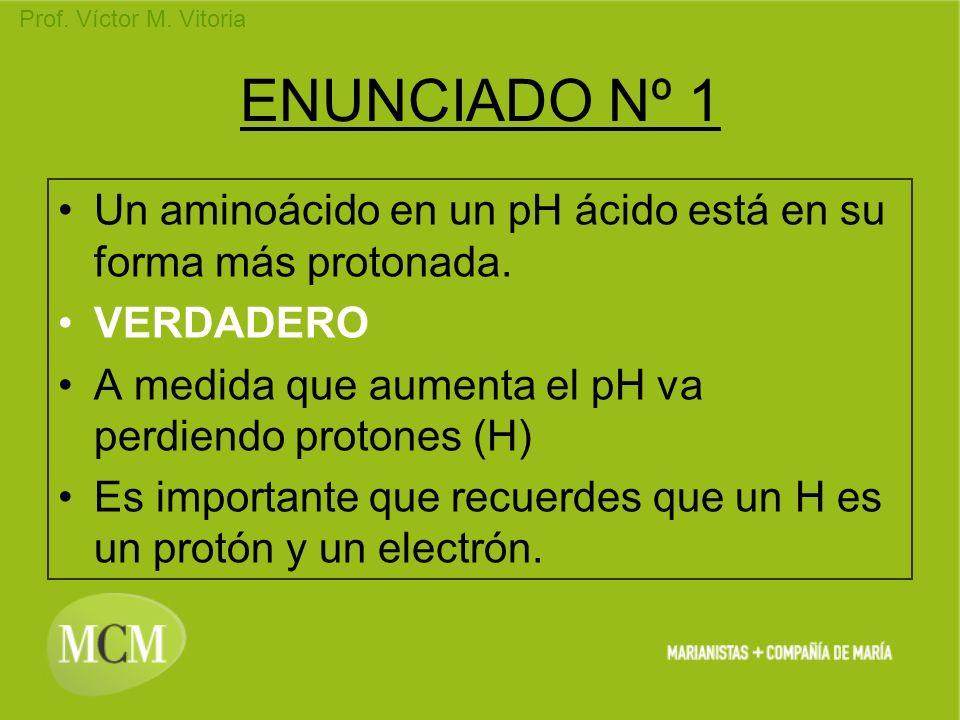 Prof. Víctor M. Vitoria ENUNCIADO Nº 1 Un aminoácido en un pH ácido está en su forma más protonada. VERDADERO A medida que aumenta el pH va perdiendo