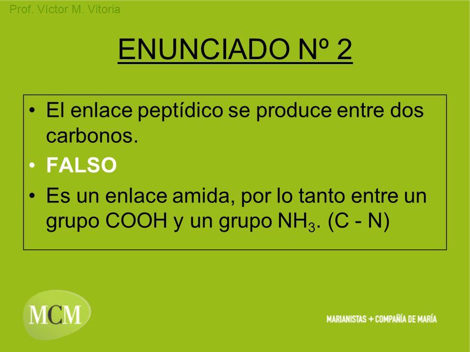 Prof. Víctor M. Vitoria ENUNCIADO Nº 2 El enlace peptídico se produce entre dos carbonos. FALSO Es un enlace amida, por lo tanto entre un grupo COOH y