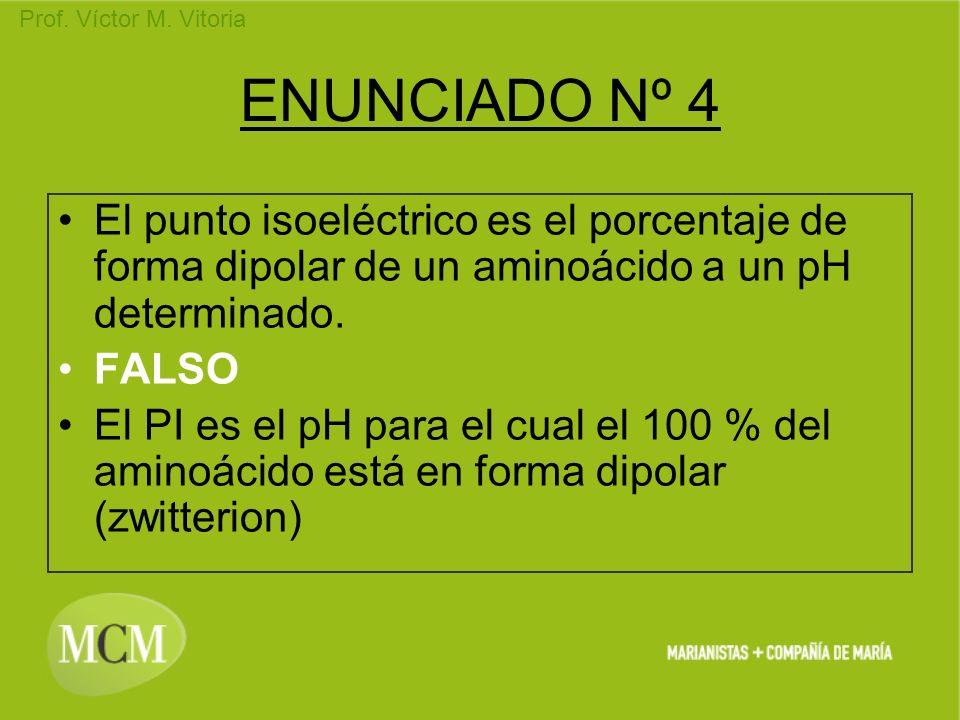 Prof. Víctor M. Vitoria ENUNCIADO Nº 4 El punto isoeléctrico es el porcentaje de forma dipolar de un aminoácido a un pH determinado. FALSO El PI es el