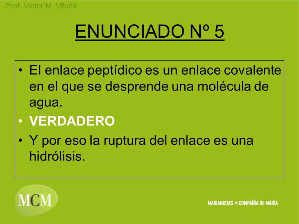 Prof. Víctor M. Vitoria ENUNCIADO Nº 5 El enlace peptídico es un enlace covalente en el que se desprende una molécula de agua. VERDADERO Y por eso la