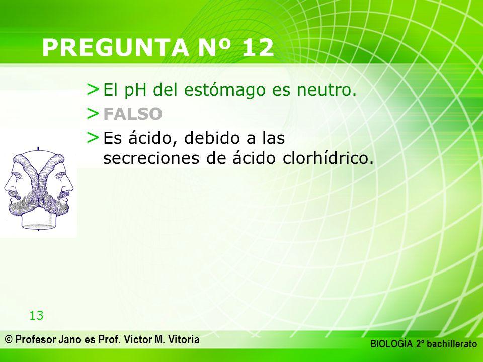13 © Profesor Jano es Prof. Víctor M. Vitoria BIOLOGÍA 2º bachillerato PREGUNTA Nº 12 > El pH del estómago es neutro. > FALSO > Es ácido, debido a las