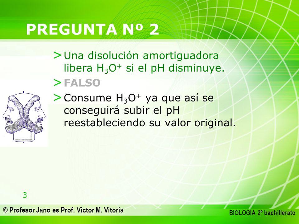 3 © Profesor Jano es Prof. Víctor M. Vitoria BIOLOGÍA 2º bachillerato PREGUNTA Nº 2 > Una disolución amortiguadora libera H 3 O + si el pH disminuye.