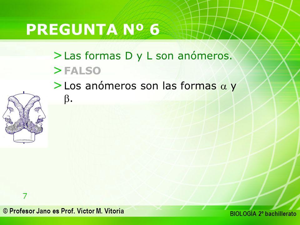7 © Profesor Jano es Prof. Víctor M. Vitoria BIOLOGÍA 2º bachillerato PREGUNTA Nº 6 > Las formas D y L son anómeros. > FALSO > Los anómeros son las fo