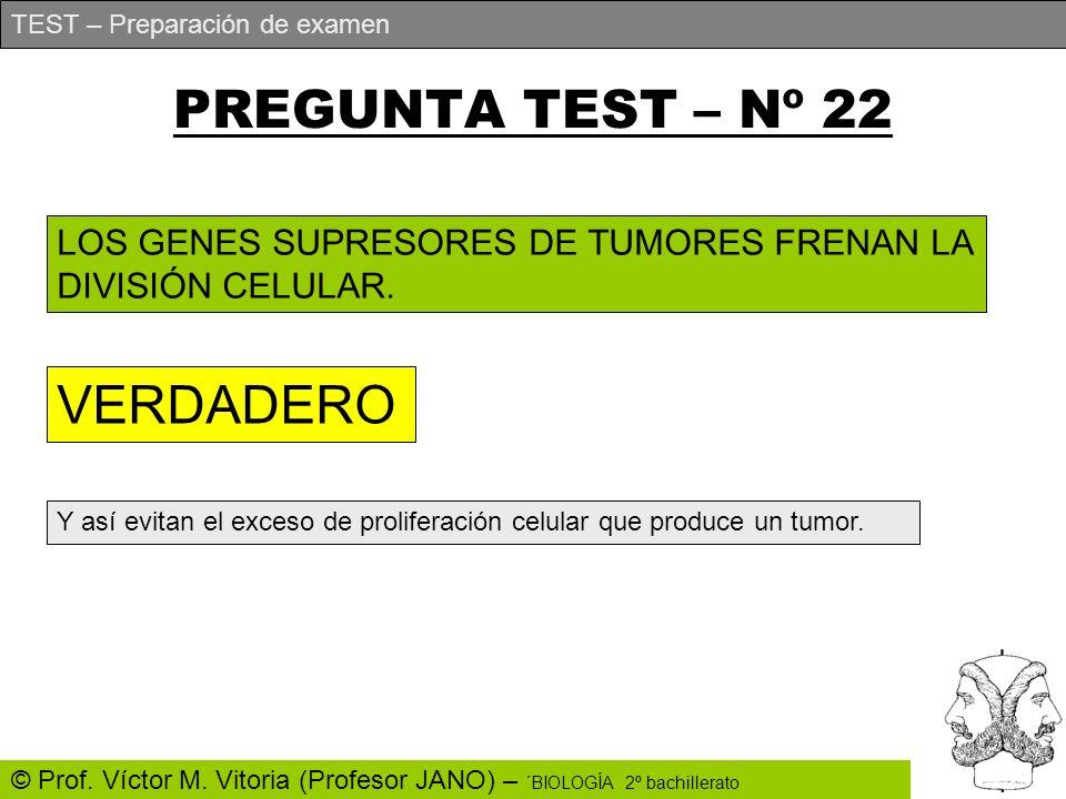 TEST – Preparación de examen © Prof. Víctor M. Vitoria (Profesor JANO) – ´BIOLOGÍA 2º bachillerato PREGUNTA TEST – Nº 22 LOS GENES SUPRESORES DE TUMOR