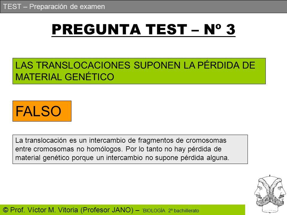 TEST – Preparación de examen © Prof. Víctor M. Vitoria (Profesor JANO) – ´BIOLOGÍA 2º bachillerato PREGUNTA TEST – Nº 3 LAS TRANSLOCACIONES SUPONEN LA