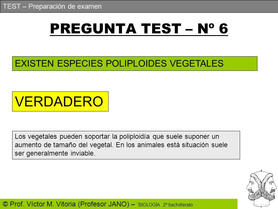 TEST – Preparación de examen © Prof. Víctor M. Vitoria (Profesor JANO) – ´BIOLOGÍA 2º bachillerato PREGUNTA TEST – Nº 6 EXISTEN ESPECIES POLIPLOIDES V
