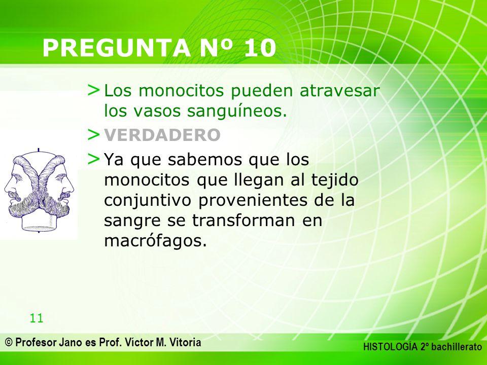11 © Profesor Jano es Prof. Víctor M. Vitoria HISTOLOGÍA 2º bachillerato PREGUNTA Nº 10 > Los monocitos pueden atravesar los vasos sanguíneos. > VERDA