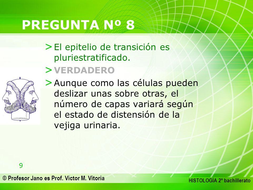 9 © Profesor Jano es Prof. Víctor M. Vitoria HISTOLOGÍA 2º bachillerato PREGUNTA Nº 8 > El epitelio de transición es pluriestratificado. > VERDADERO >