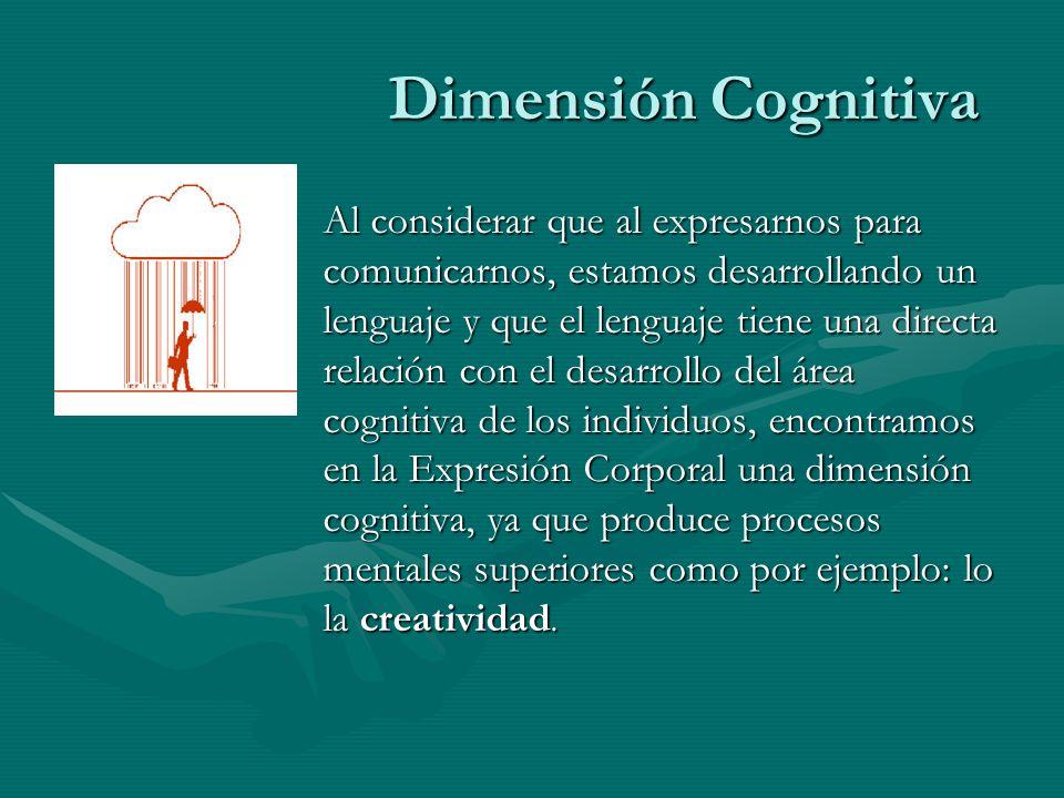 Dimensión Cognitiva Al considerar que al expresarnos para comunicarnos, estamos desarrollando un lenguaje y que el lenguaje tiene una directa relación