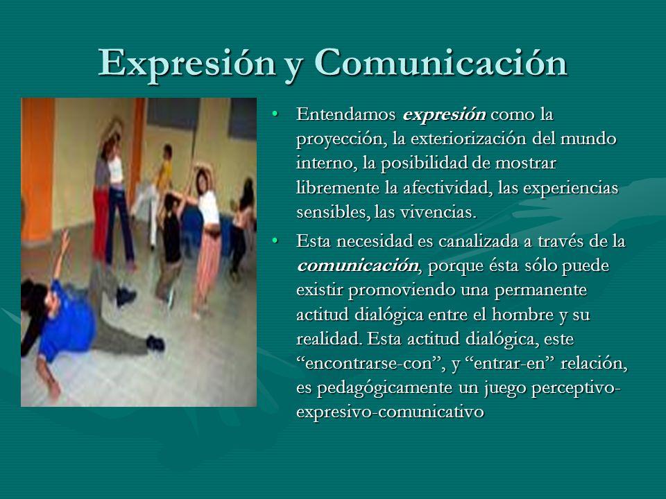 Expresión y Comunicación Entendamos expresión como la proyección, la exteriorización del mundo interno, la posibilidad de mostrar libremente la afecti