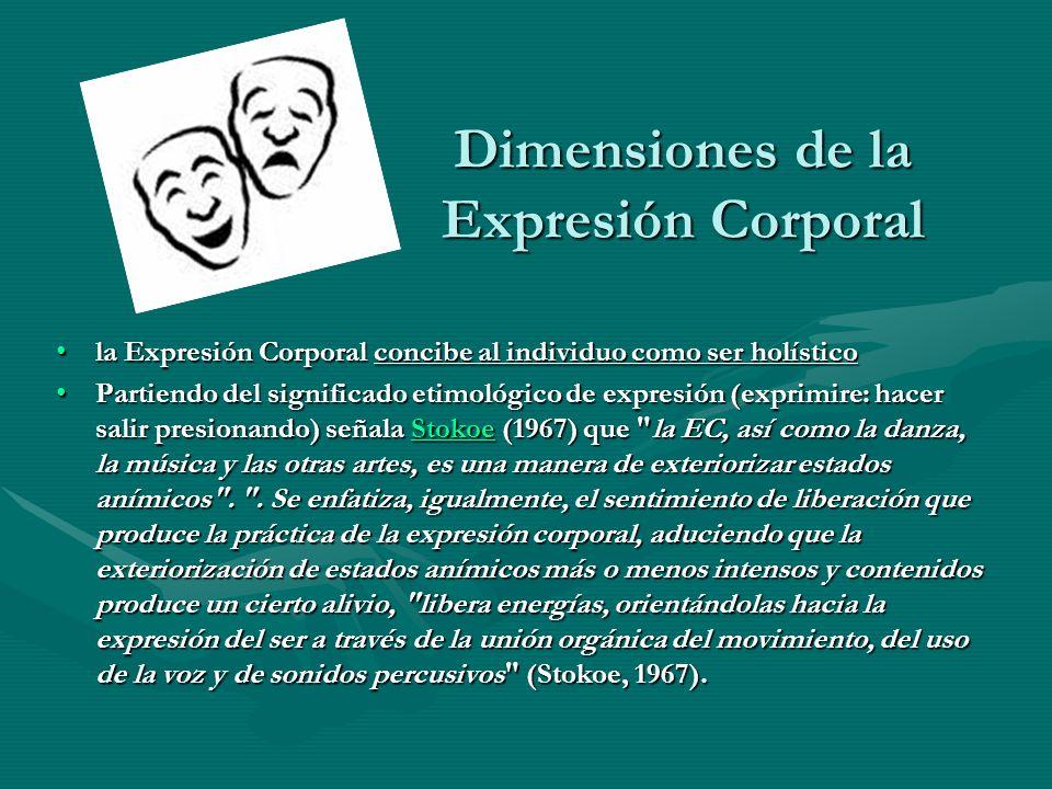 Dimensiones de la Expresión Corporal la Expresión Corporal concibe al individuo como ser holísticola Expresión Corporal concibe al individuo como ser