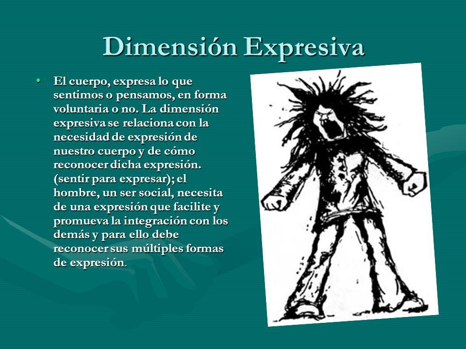 Dimensión Expresiva El cuerpo, expresa lo que sentimos o pensamos, en forma voluntaria o no. La dimensión expresiva se relaciona con la necesidad de e