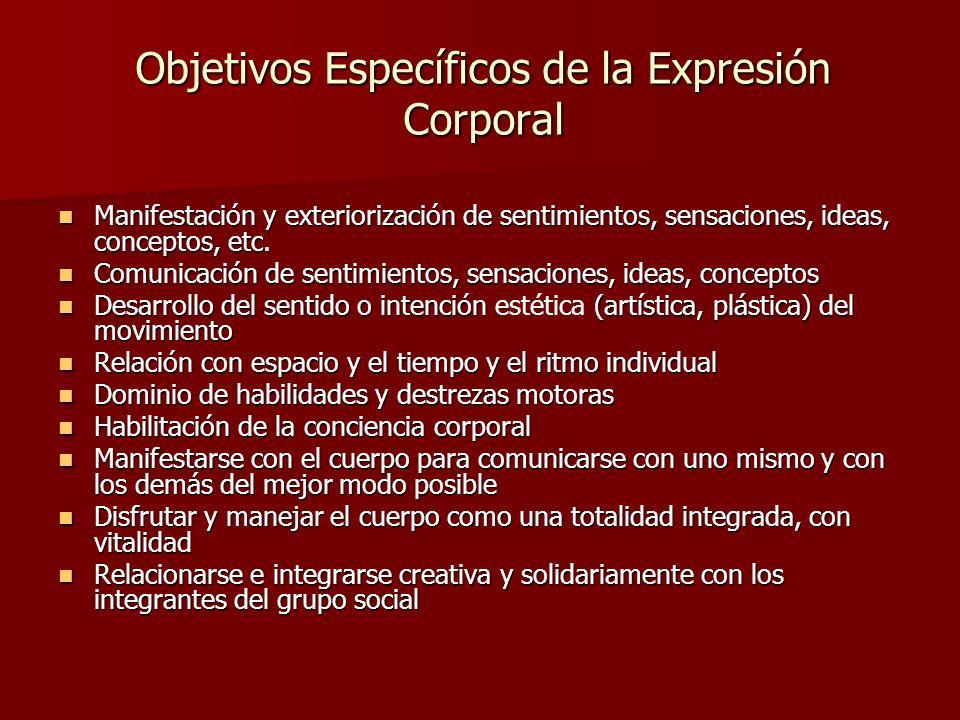 Objetivos Específicos de la Expresión Corporal Manifestación y exteriorización de sentimientos, sensaciones, ideas, conceptos, etc. Manifestación y ex