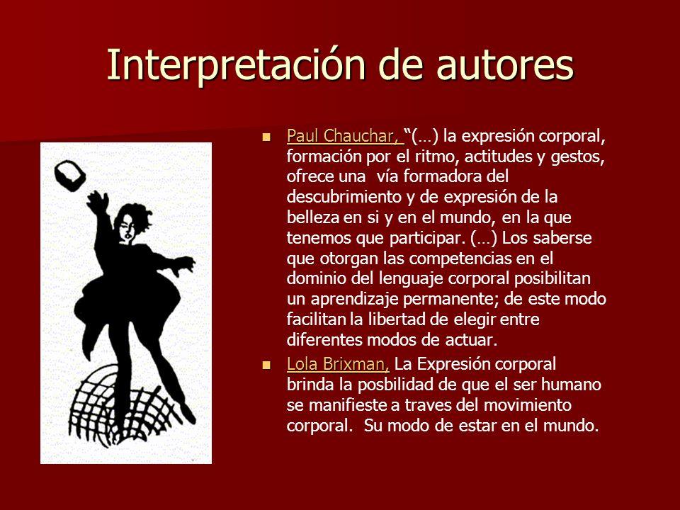 Interpretación de autores Paul Chauchar, Paul Chauchar, (…) la expresión corporal, formación por el ritmo, actitudes y gestos, ofrece una vía formador