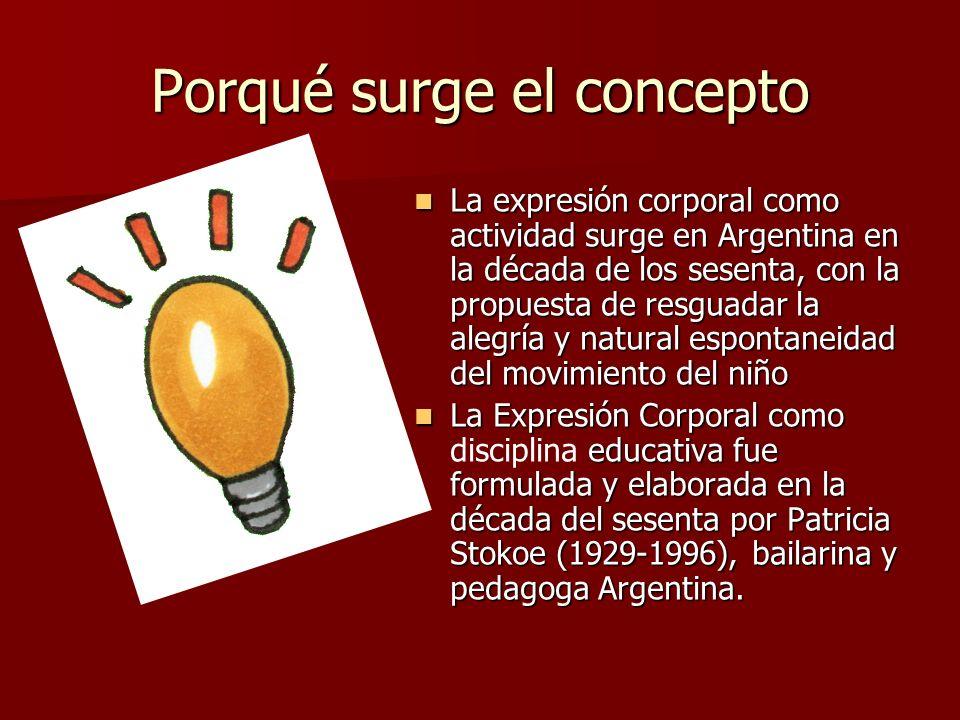 Porqué surge el concepto La expresión corporal como actividad surge en Argentina en la década de los sesenta, con la propuesta de resguadar la alegría