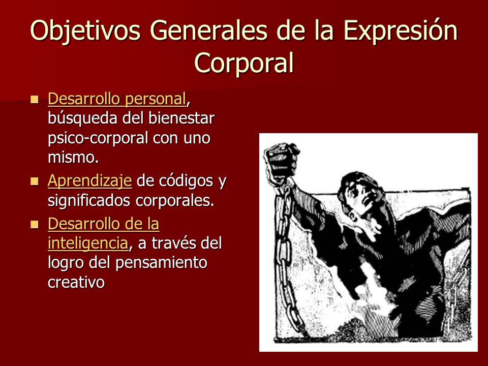 Objetivos Generales de la Expresión Corporal Desarrollo personal, búsqueda del bienestar psico-corporal con uno mismo. Desarrollo personal, búsqueda d