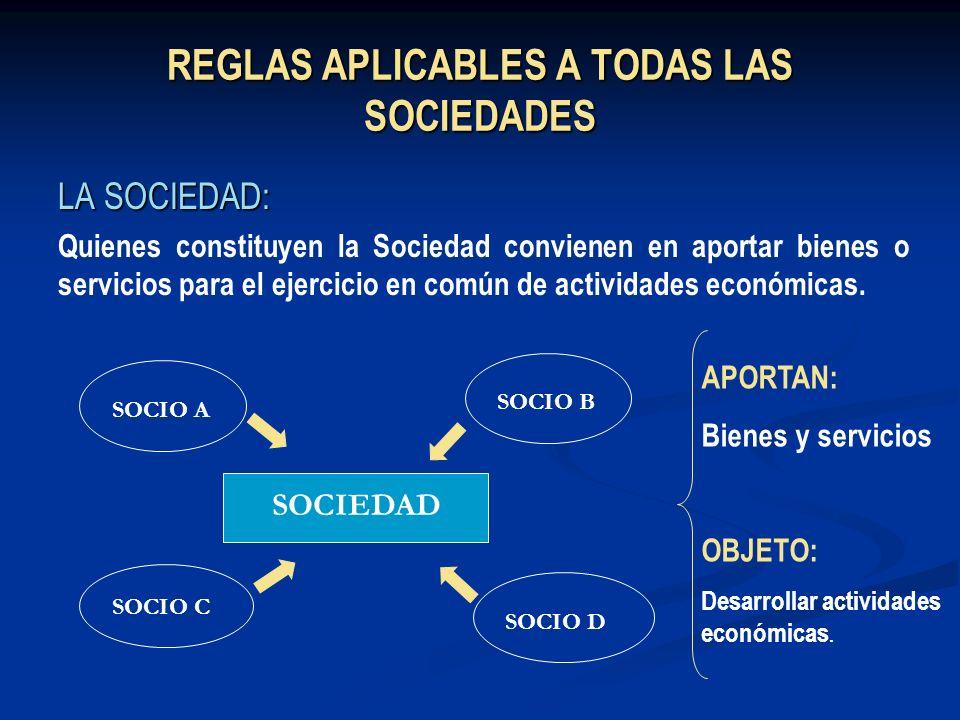 REGLAS APLICABLES A TODAS LAS SOCIEDADES LA SOCIEDAD: Quienes constituyen la Sociedad convienen en aportar bienes o servicios para el ejercicio en com