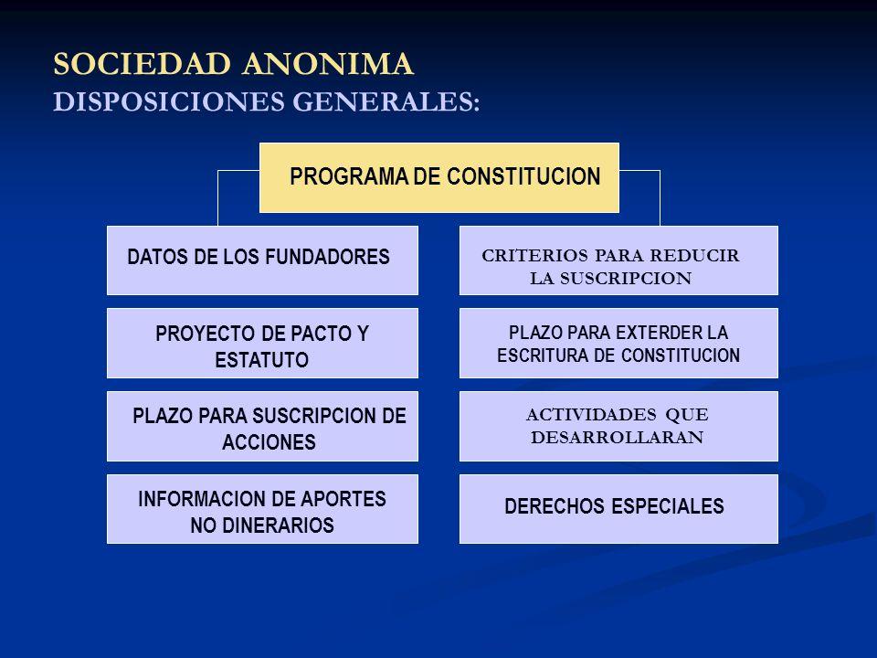 SOCIEDAD ANONIMA DISPOSICIONES GENERALES: PROGRAMA DE CONSTITUCION DATOS DE LOS FUNDADORES CRITERIOS PARA REDUCIR LA SUSCRIPCION PROYECTO DE PACTO Y E