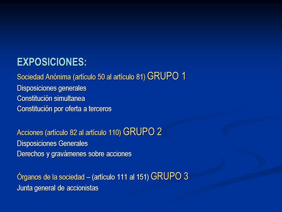 EXPOSICIONES: Sociedad Anónima (artículo 50 al artículo 81) GRUPO 1 Disposiciones generales Constitución simultanea Constitución por oferta a terceros