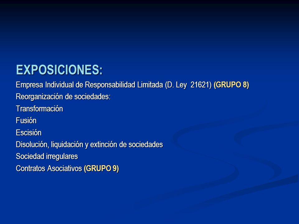 EXPOSICIONES: Empresa Individual de Responsabilidad Limitada (D. Ley 21621) (GRUPO 8) Reorganización de sociedades: TransformaciónFusiónEscisión Disol
