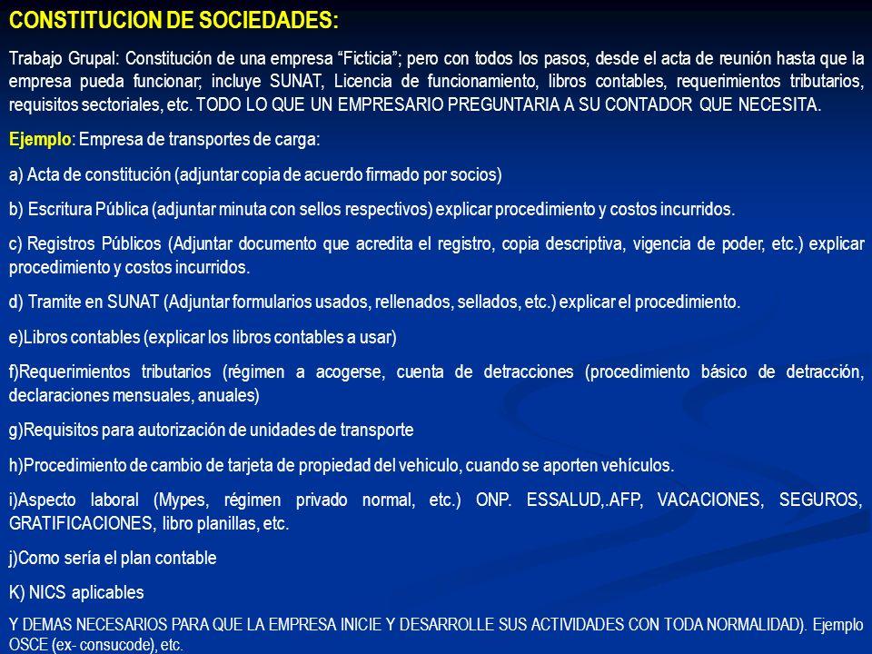 CONSTITUCION DE SOCIEDADES: Trabajo Grupal: Constitución de una empresa Ficticia; pero con todos los pasos, desde el acta de reunión hasta que la empr