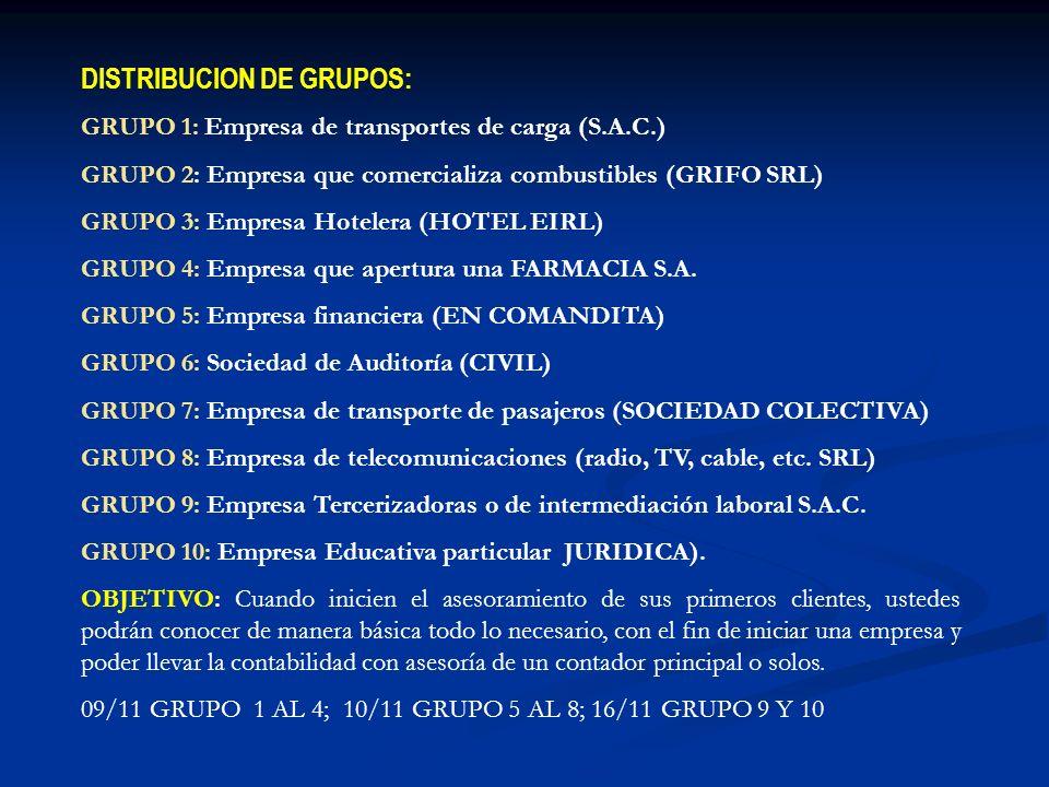 DISTRIBUCION DE GRUPOS: GRUPO 1: Empresa de transportes de carga (S.A.C.) GRUPO 2: Empresa que comercializa combustibles (GRIFO SRL) GRUPO 3: Empresa