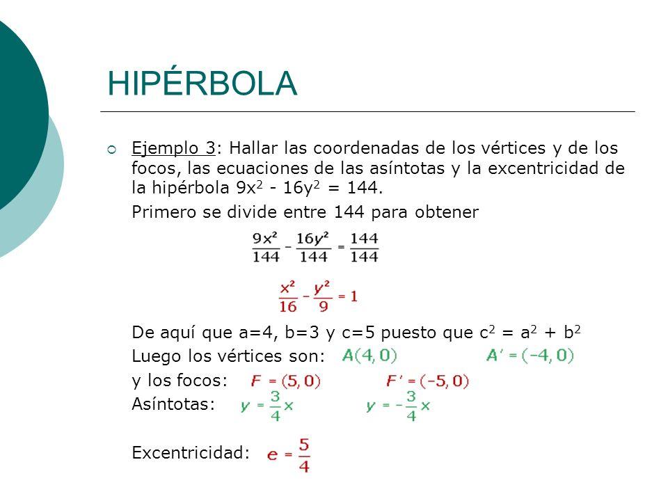 HIPÉRBOLA Ejemplo 3: Hallar las coordenadas de los vértices y de los focos, las ecuaciones de las asíntotas y la excentricidad de la hipérbola 9x 2 -