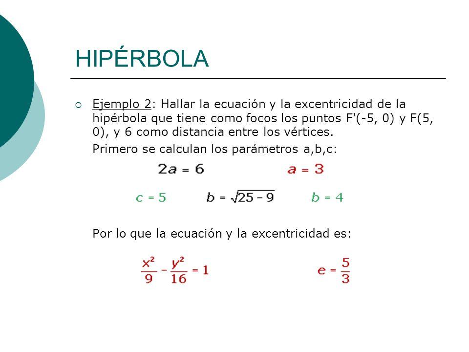 HIPÉRBOLA Ejemplo 2: Hallar la ecuación y la excentricidad de la hipérbola que tiene como focos los puntos F'(-5, 0) y F(5, 0), y 6 como distancia ent