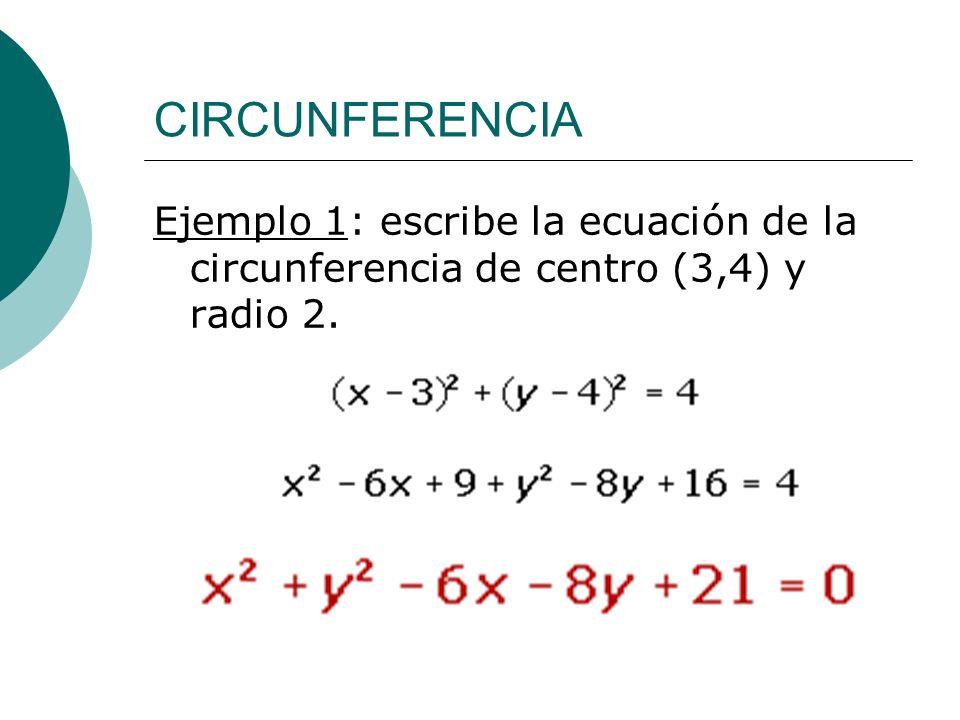CIRCUNFERENCIA Ejemplo 1: escribe la ecuación de la circunferencia de centro (3,4) y radio 2.