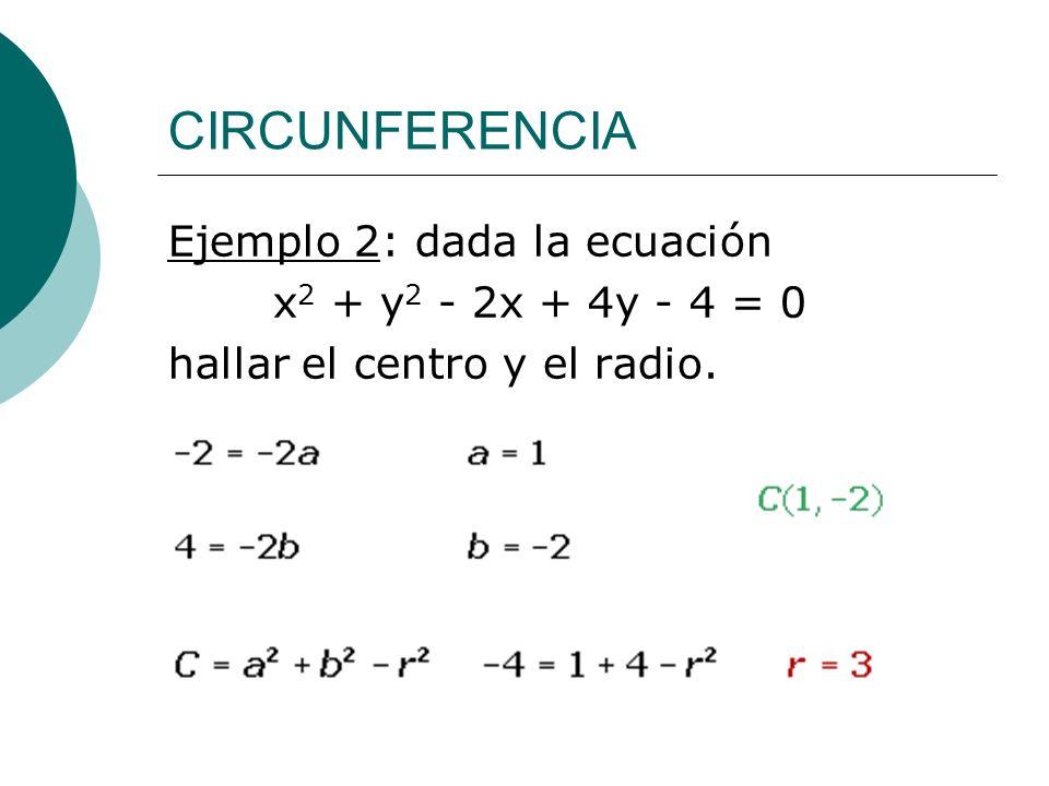CIRCUNFERENCIA Ejemplo 2: dada la ecuación x 2 + y 2 - 2x + 4y - 4 = 0 hallar el centro y el radio.