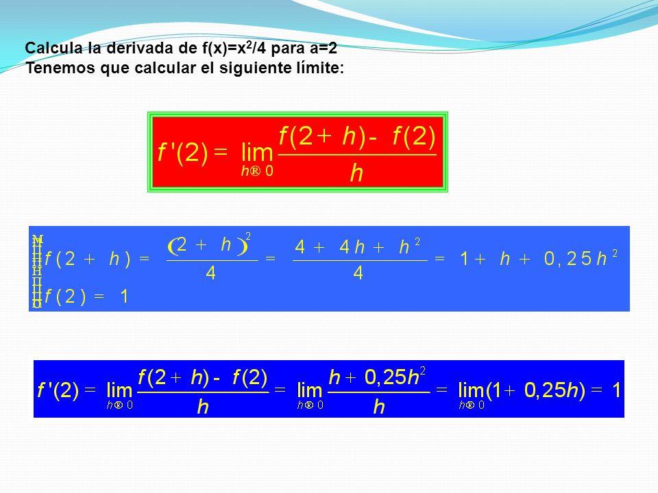Calcula la derivada de f(x)=x 2 /4 para a=2 Tenemos que calcular el siguiente límite: