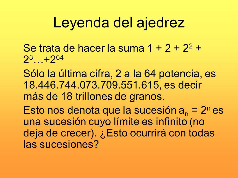 Leyenda del ajedrez Se trata de hacer la suma 1 + 2 + 2 2 + 2 3 …+2 64 Sólo la última cifra, 2 a la 64 potencia, es 18.446.744.073.709.551.615, es dec